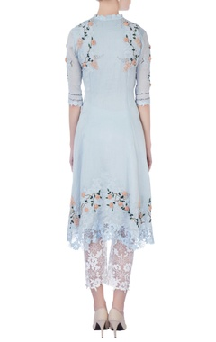 sky blue rose embellished kurta and pants