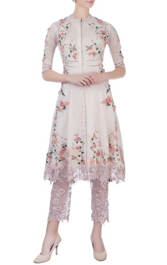 rose pink rose three-dimensional work kurta & pants