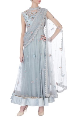blue floral anarkali with attached dupatta