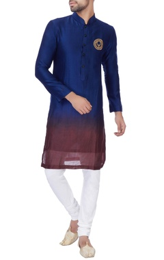 NAUTANKY - Men Blue & wine ombre chanderi kurta with churidar