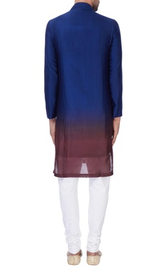 Blue & wine ombre chanderi kurta with churidar