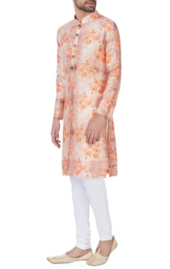 NAUTANKY - Men Orange raw silk kurta & churidar