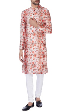 NAUTANKY - Men Red & pink rose raw silk kurta set