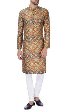 NAUTANKY - Men Brown printed raw silk kurta with churidar