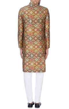Brown printed raw silk kurta with churidar