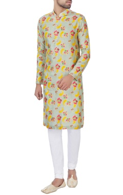 NAUTANKY - Men Light green foil detailed kurta & churidar