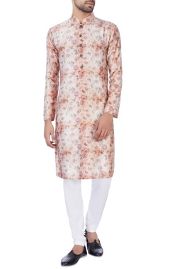 NAUTANKY - Men Pink & orange rose motif kurta & churidar