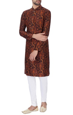 NAUTANKY - Men Brown digital printed kurta & churidar