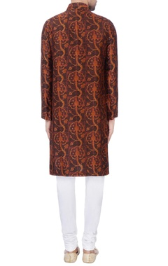 Brown digital printed kurta & churidar