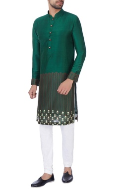 NAUTANKY - Men Green digital printed kurta & churidar