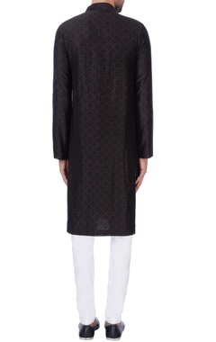 Black digital printed kurta & churidar