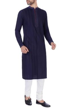 Navy blue katan long kurta & churidar