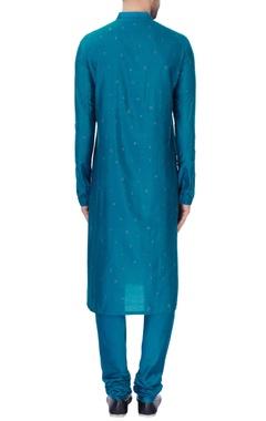 Blue pleated style katan kurta set