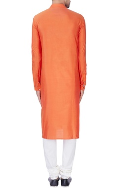 Orange pleated texture kurta set