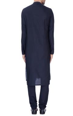 Navy blue textured kurta & churidar pants