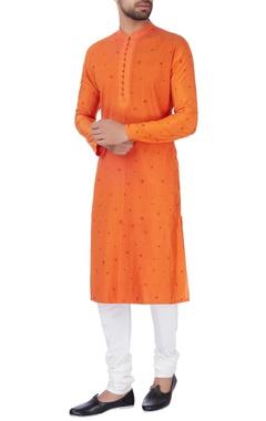 Orange embroidered kurta & churidar pants