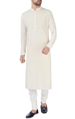 Beige katan kurta with churidar pants