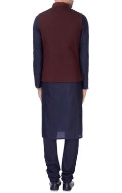 Wine quilted nehru jacket