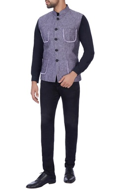 Manoviraj khosla Blue thread embroidered nehru jacket