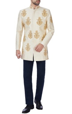 Manoviraj khosla Beige embroidered brocade jacket