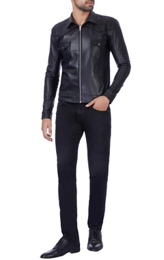 Manoviraj khosla Matt black laser cut jacket