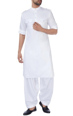 Manoviraj khosla White silk pathani kurta set
