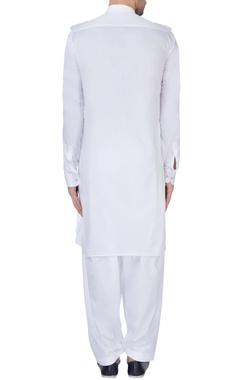 White silk pathani kurta set