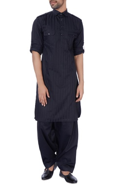 Manoviraj khosla Black silk pathani kurta set