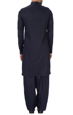Black silk pathani kurta set