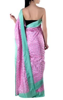 pink crepe sari with blouse piece