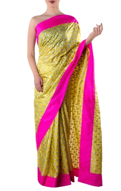 yellow printed sari with blouse piece