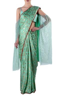 green foil print sari & blouse piece