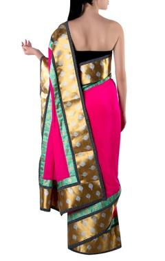 pink gota sari with blouse piece