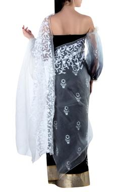 black organza pallu sari & blouse piece