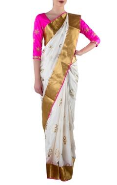 white & gold sari with blouse piece