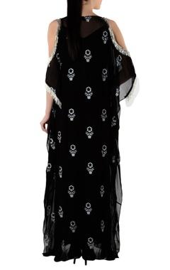 black printed kaftan with slip
