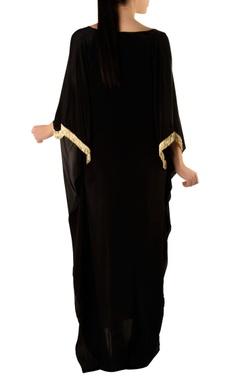 black kaftan with gold embellishments