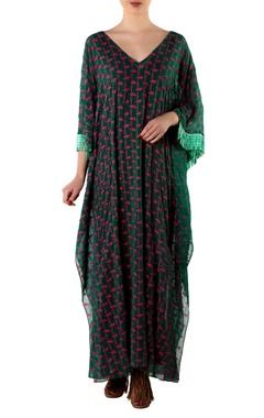 Green tassel kaftan with slip