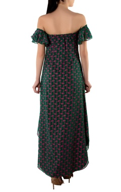 Green off shoulder georgette maxi dress