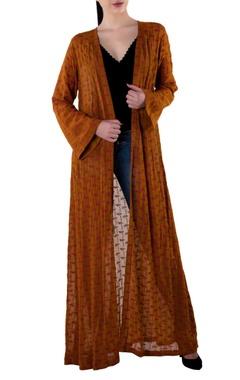 brown crepe silk open jacket
