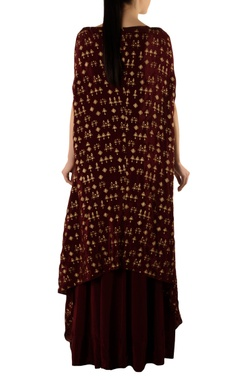 Burgundy warli print cape & skirt