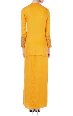 yellow zardozi kurta & dhoti skirt