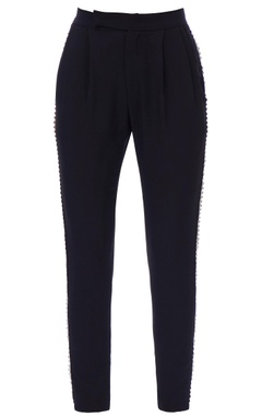 black fitted formal trousers