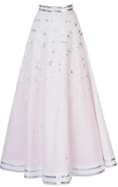 pink linen skirt with can-can layer