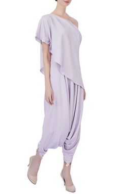 lilac one shoulder cape & dhoti pants