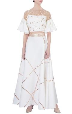 white neoprene flared skirt