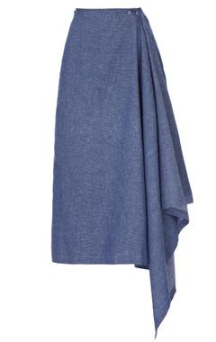 blue denim drop skirt