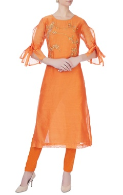 orange machine embroidered kurta set