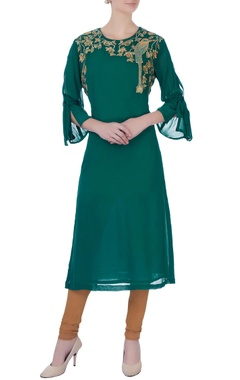 green georgette kurta & churidar pants