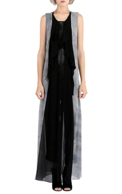 Rohit Gandhi + Rahul Khanna Black printed embellished dress